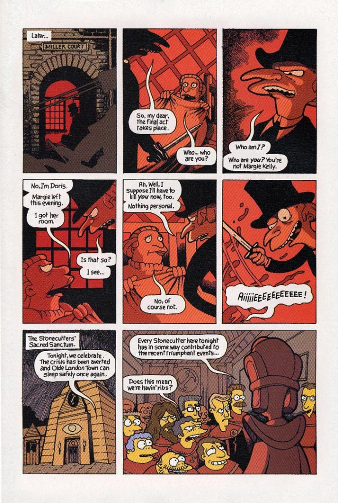 From Hell and Back Treehouse page 13 by Gary Spencer Millidge. Colours by Nathan Kane ©2003 Bongo Entertainment, Inc. and Matt Groening Productions, Inc. All Rights Reserved. The Simpsons™ and ©Twentieth Century Fox Film Corporation.