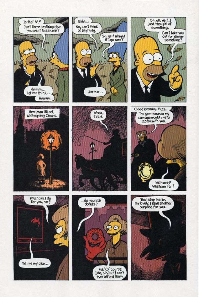 From Hell and Back page 06 by Gary Spencer Millidge. Colours by Nathan Kane ©2003 Bongo Entertainment, Inc. and Matt Groening Productions, Inc. All Rights Reserved. The Simpsons™ and ©Twentieth Century Fox Film Corporation.