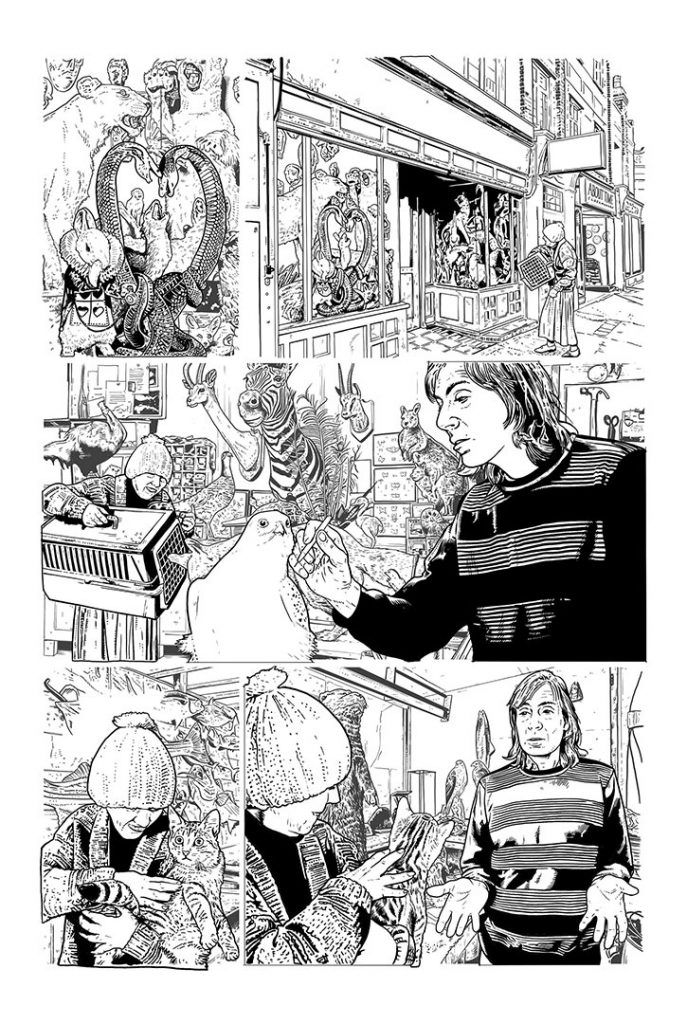 Strangehaven Destiny episode 08 page 13 B&W Visit from Elsie ©2021 Gary Spencer Millidge